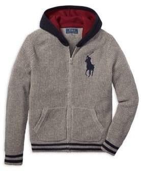 Ralph Lauren Childrenswear Boy's Waffle-Knit Hooded Sweater