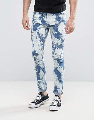 Asos Super Skinny Jeans With Bleach Spots Mid Blue