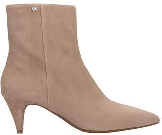 Michael Kors Taupe Suede Blaine Ankle Boots