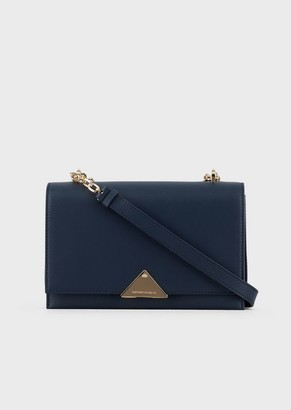 Emporio Armani Cross-Body Bag In Smooth Leather With Chain Strap