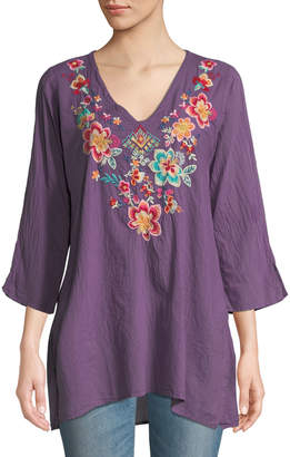 Johnny Was Roma Floral-Embroidered V-Neck Tunic