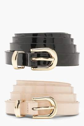 boohoo Tilly Two Pack Patent Skinny Belts
