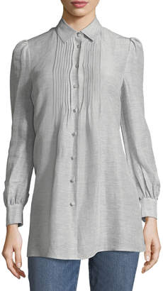 Co Button-Front Striped Silk-Linen Shirt