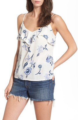 Women's Lush Floral Embroidered Ruffle Camisole $45 thestylecure.com
