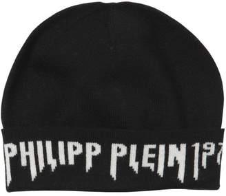 Philipp Plein Junior Logo Intarsia Wool Knit Beanie Hat