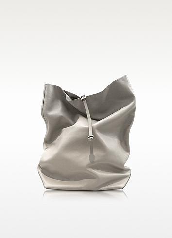 Jil Sander Nuzzi - Light Gray Nappa Leather Lunch Bag Clutch