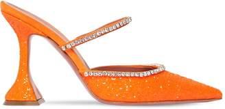 Amina Muaddi 100mm Gilda Embellished Glitter Mules