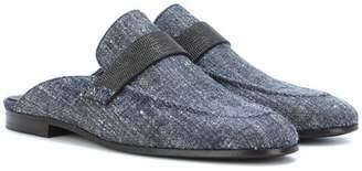 Brunello Cucinelli Linen and silk denim slippers