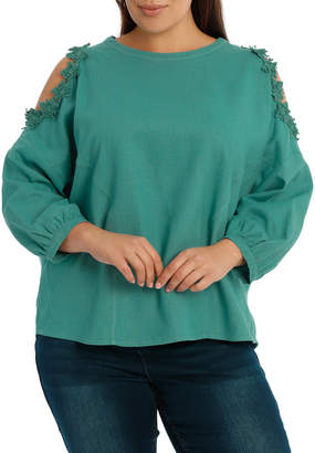 Top with Lace Detail Cold Shoulder
