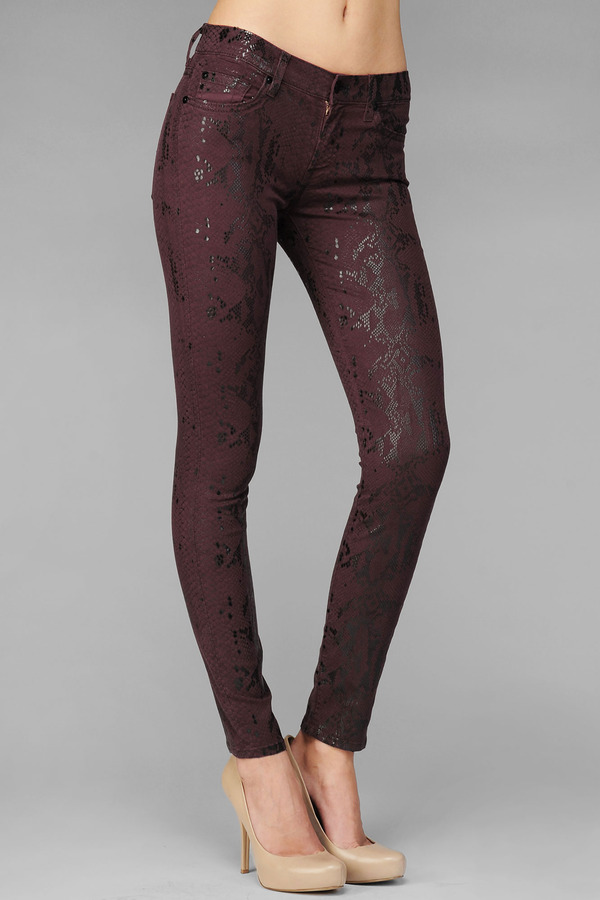 7 For All Mankind The Skinny In Burgundy With High Gloss Snake