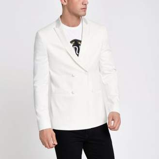 River Island Mens White double breasted skinny fit blazer