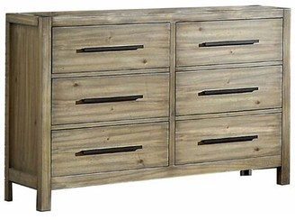 Millwood Pines Wooden Dresser With 6 Drawers And Bar Pull Handle, Oak Brown And Black Millwood Pines