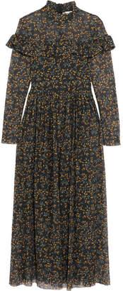 Ganni Tilden Ruffled Floral-print Mesh Maxi Dress - Black