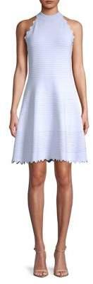 Eliza J Ribbed Ruffle Halter A-Line Dress