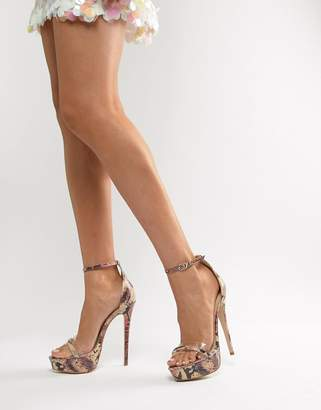 clear SIMMI Shoes Simmi London Scandal snake detail platform stiletto sandals