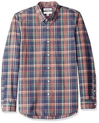 Goodthreads Men's Slim-Fit Long-Sleeve Plaid Oxford Shirt, -navy pink plaid, Large
