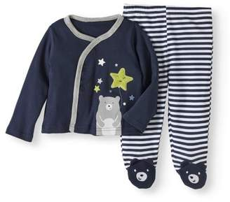 Quiltex Newborn Baby Boys' Bear Kimono and Footed Pants 2-Piece Outfit Set