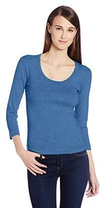 Three Dots Women's 3/4 Sleeve Playgirl Scoop-Neck T-Shirt