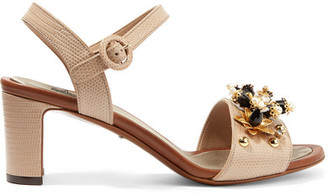 Dolce & Gabbana - Embellished Lizard-effect Leather Sandals - Taupe $1,145 thestylecure.com