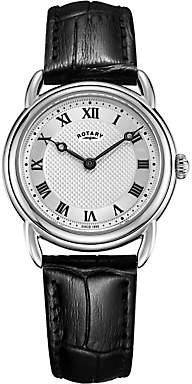 Rotary LS05335/21 Women's Canterbury Leather Strap Watch, Black/Silver