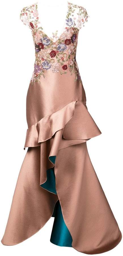 Patbo bouquet beaded high low gown
