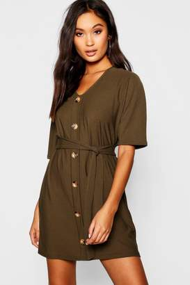 boohoo Horn Button Tie Waist Shift Dress
