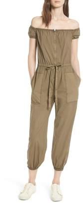Rebecca Taylor Parachute Off the Shoulder Zip Cotton Jumpsuit