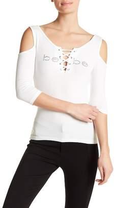 Bebe Beth Cold Shoulder 3/4 Sleeve Lace Neck Tee