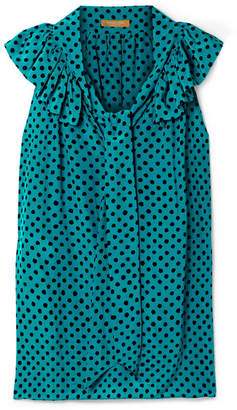 Michael Kors Pussy-bow Ruffled Polka-dot Silk-crepe Blouse - Turquoise