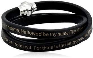 Crucible Jewelry Mens Stainless Steel Lord's Prayer Leather Wrap Bracelet (6.5 mm)
