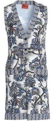 Missoni Crochet Knit-Trimmed Printed Silk-Blend Crepe Mini Dress