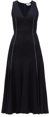 Gabriela Hearst Annabelle Fit And Flare Wool Blend Crepe Dress - Womens - Navy Multi