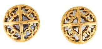 Chanel CC Mirrored Button Clip-On Earrings