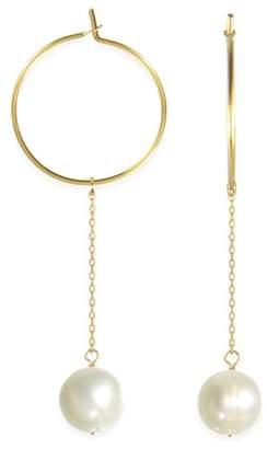 Taolei 18K Gold Plated 8-9mm Freshwater Pearl Drop Hoop Earrings