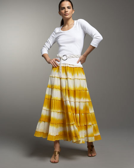 Ali Miles Tiered A-Line Maxi Skirt