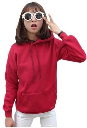 Harajuku Lovers MonaPiya Clothing Store Teen Girls Pastel Solid Wine Pullover Hoodies Sweatshirts Pocket Size M
