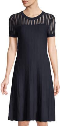 Iconic American Designer Short-Sleeve Illusion Sweater Dress