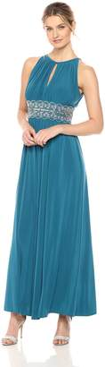 R & M Richards R&M Richards Women's Halter Neck Beaded Waist Formal Dress
