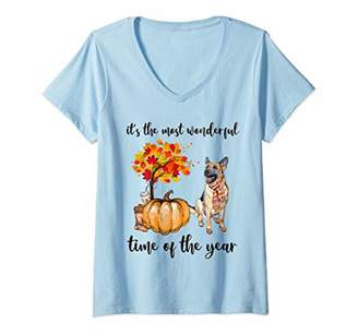 Womens It's The Most Wonderful Time Of The Year German Shepherd V-Neck T-Shirt