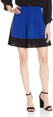 Star Vixen Women's Stretch Ity Colorblock Hem Swingy Full Skater Skirt