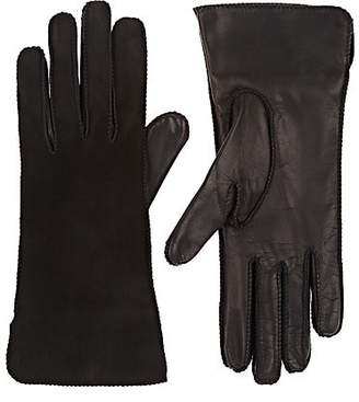 Barneys New York Women's Suede & Nappa Leather Gloves - Black