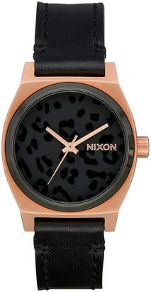 Nixon Women Time Teller Leather Strap Watch 31mm