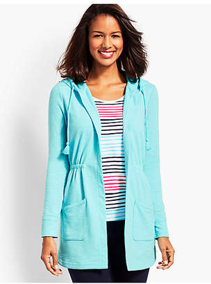Talbots Slub Terry Cinched-Waist Hooded Cardigan