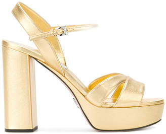 Prada metallic-leather platform sandals