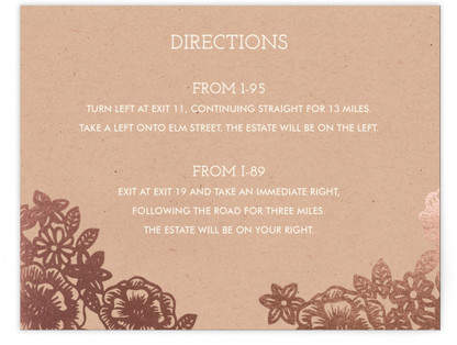 Lace and Kraft Foil-Pressed Direction Cards