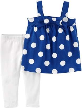 Carter's Toddler Girl Polka-Dot Tank Top & White Leggings Set