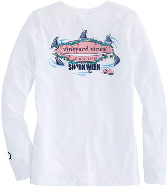 Vineyard Vines Womens Long-Sleeve Shark Week Circling Sharks Lit Surfboard Tee