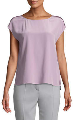Escada Cap-Sleeve Round-Neck Silk Blouse w/ Exposed Seams