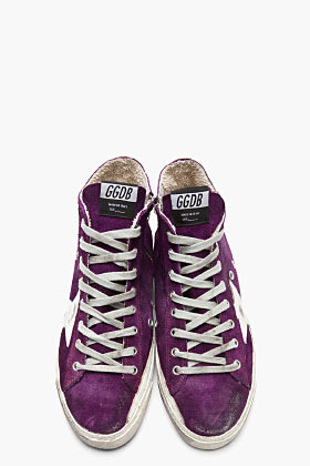 Golden Goose Purple Distressed Suede Francy Sneakers