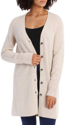 Cardigan Long Line Jersey With Contrast Button